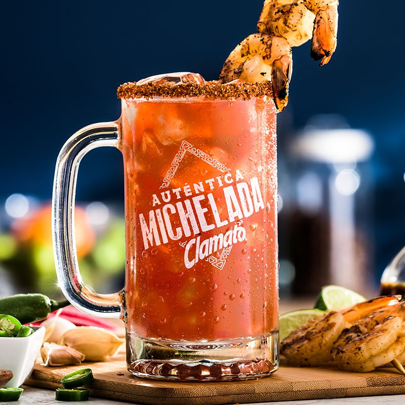 Shrimp Clamato Michelada Drink Recipe
